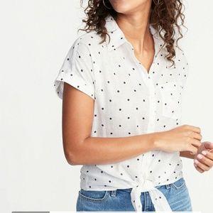 Old Navy Linen Blend Tie Front Shirt Size L